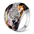 Xinguang Women's Classic Oil Painting Full Of Diamond Finger Ring - Silver + Purple (US Size 6)