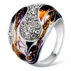 Xinguang Women's Classic Oil Painting Full Of Diamond Finger Ring - Silver + Purple (US Size 7)