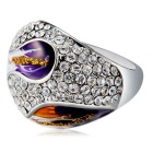 Xinguang Women's Classic Oil Painting Style Full of Rhinestones Ring - Silver + Purple (US Size 8)