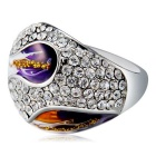 Xinguang Women's Oil Painting Style Ring - Silver + Purple (US 9)