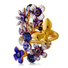 Xinguang Women's Purple Flowers Style Exaggerated Crystal Ring - Golden (US Size 7)