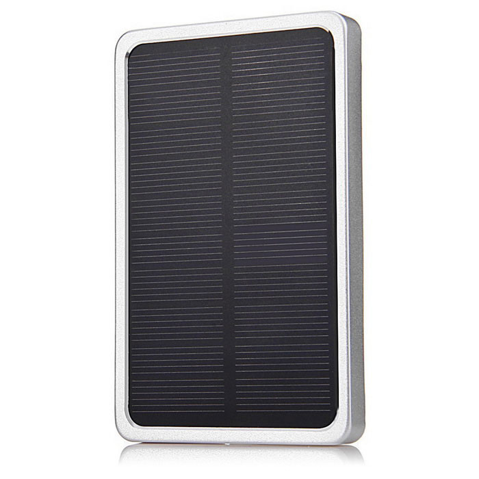 5V 2.1A 4000mAh Solar Charger Power Bank w/ LED - Silver + Black