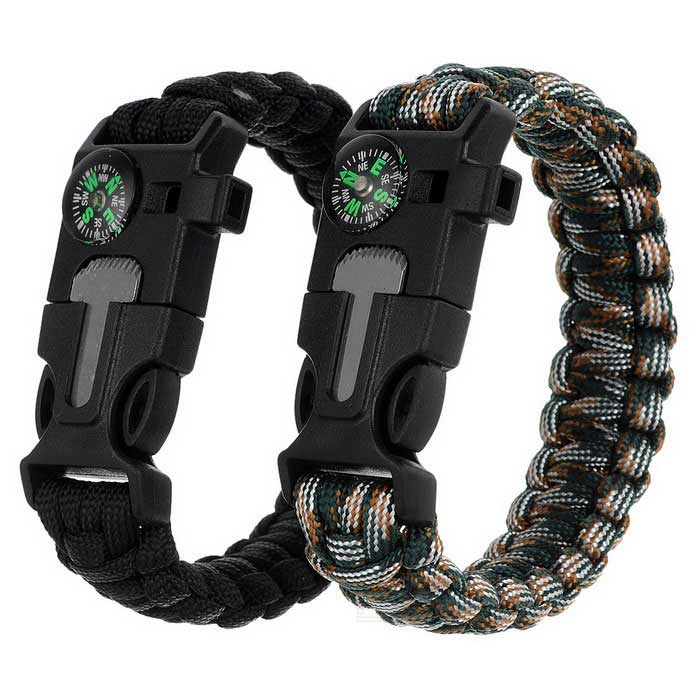 Outdoor Bracelet w/ Flintstone / Compass - Black + Camouflage (2PCS)