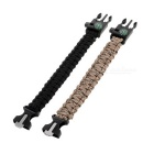 Outdoor Bracelet w/ Compass / Whistle - Black + Camouflage (2PCS)
