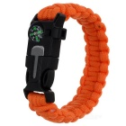 Outdoor Bracelet w/ Flintstone / Whistle - Black + Orange (2PCS)