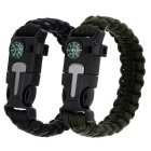 Outdoor Parachute Cord Bracelet w/ Flintstone / Whistle / Compass - Black + Army Green (2pcs)