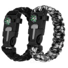 Outdoor Parachute Cord Bracelet w/ Flintstone / Whistle / Compass - Black + White (2pcs)