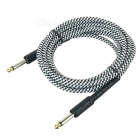 6.35mm to 6.35mm M-M Audio Cable for Guitar - Black + White (3.1m)