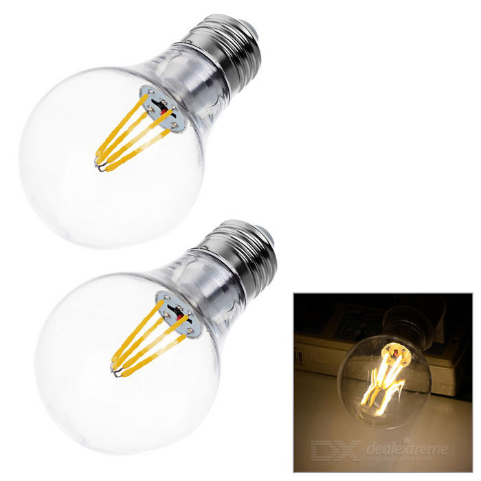 JRLED E27 4W 4-COB LED Globe Bulb Lamp Warm White Light 500lm (2PCS)E27<br>Form  ColorTransparent + SilverColor BINWarm WhiteMaterialAluminum alloy + PCQuantity2 DX.PCM.Model.AttributeModel.UnitPower4WRated VoltageAC 85-265 DX.PCM.Model.AttributeModel.UnitConnector TypeE27Emitter TypeCOBTotal Emitters4Theoretical Lumens500 DX.PCM.Model.AttributeModel.UnitActual Lumens300~500 DX.PCM.Model.AttributeModel.UnitColor Temperature3000KDimmableNoBeam Angle360 DX.PCM.Model.AttributeModel.UnitOther FeaturesCan replace the traditional 40W tungsten filament bulb; CRI is up to 80.Packing List2 x Bulbs<br>