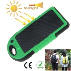 Water-Resistant Shakeproof Anti-Dust Portable 4000mAh Solar Power Bank Charger - Black + Green