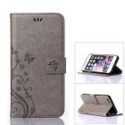 MO.MAT Butterfly in Love with Flower Emboss Leather Wallet Case for IPHONE 6 PLUS / 6S PLUS - Grey