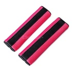 Car Motor Detachable Nylon Fastener Seatbelt Cover Pad - Red (Pair)