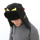 Unisex Little Devilish Eyes Pattern Protective Ear Winter Corduroy Hat - Black