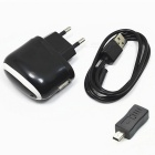 5V 1A Micro USB Charger + Mini USB Male Adapter for Samsung / HTC / XiaoMi - Black (100~240V / EU)
