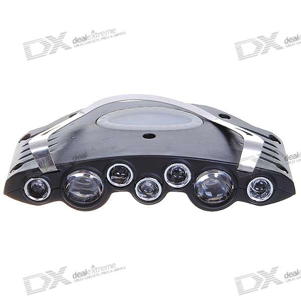 7-LED 4-Mode White Cap Light - Black (2*CR2032 Included)