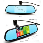 "5"" 1080P Android Car Rearview Mirror DVR w/ GPS, AU Map - Black"