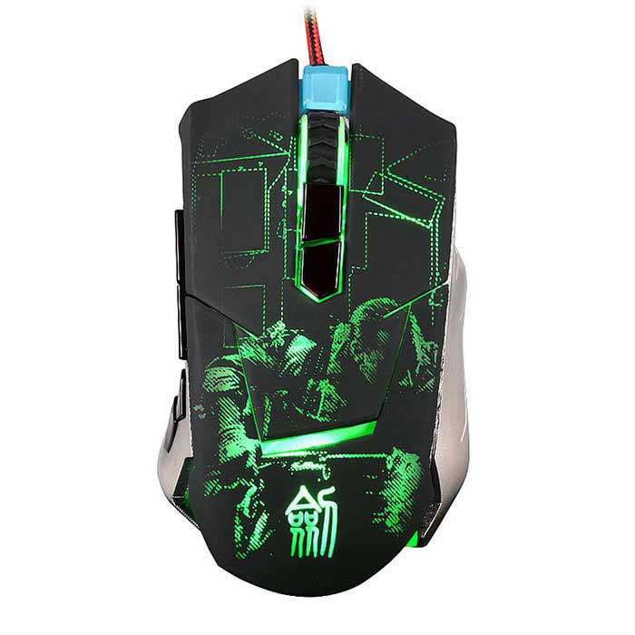 JIANSHENGYIZU JS-L9 8-Key Wired Game Mouse w/ LED Light - Black