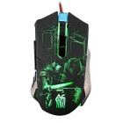 JIANSHENGYIZU JS-8 clássico L9-Key Wired Professional jogo do rato w / LED coloridos Luz - Black
