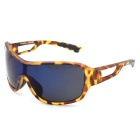 OSSAT 100% UV Protection Blue REVO Polarized Lenses Sports Sunglasses - Yellow + Leopard Print