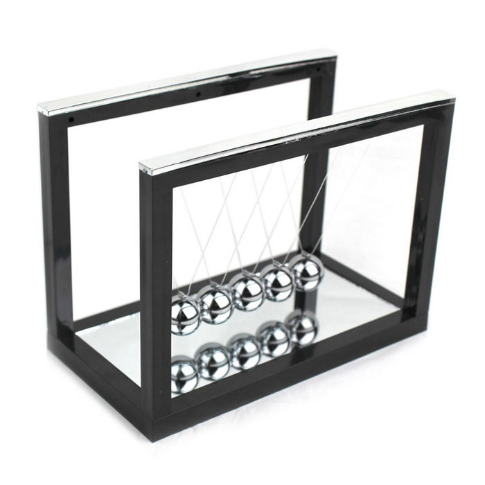 Newton Cradle Balance Balls Gift Desktop Decoration - Black + SilverDecorations &amp; Displays<br>Form  ColorBlack + Silver + Multi-ColoredMaterialPlastic + metal balls + lineQuantity1 DX.PCM.Model.AttributeModel.UnitStyleCasual,ContemporaryPacking List1 x Newton cradle<br>