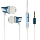 3.5mm Super Bass Earbud Headphone In-Ear Earphones w/ Mic for IPHONE / Samsung + More - White + Blue
