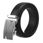 Men's Cow Split Leather Belt w/ Automatic Buckle - Black (160cm)