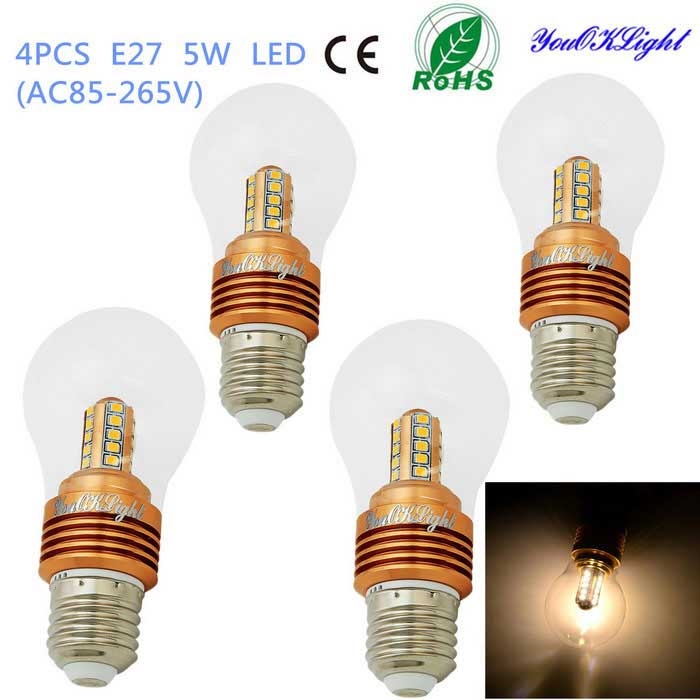 YouOKLight E27 5W 25-SMD 2835 400lm Warm White Light LED Bulb (4PCS)