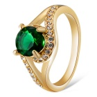 Xinguang Women's Retro Green Crystal Inlaid Finger Ring - Gold + Green (US Size 7)