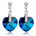 Xinguang Women's Fashion Sweet Style Heart-Shaped Crystal Earrings - Silver (Pair)