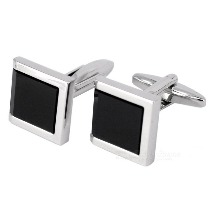 Jewelry Brass Material Square Cufflinks - Silver White + Black (Pair)