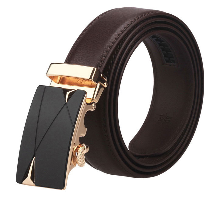 Fanshimite J13 Men's Automatic Buckle Cow Split Leather Belt - Brown (120cm)(SKU 421442)