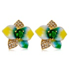 Xinguang Women's Luxury High-Quality Paint Rhinestones Ear Studs Earrings - Golden (Pair)
