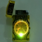 Creative Butane Gas Refill Flame Lighter w/ Electronic Watch - Gold