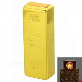 Gold Bar Style Rechargeable Lighter w/ Electronic Watch - Golden