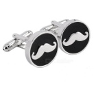 Jewelry Brass Mustache Design Men's Cufflinks - Silver + Black (Pair)