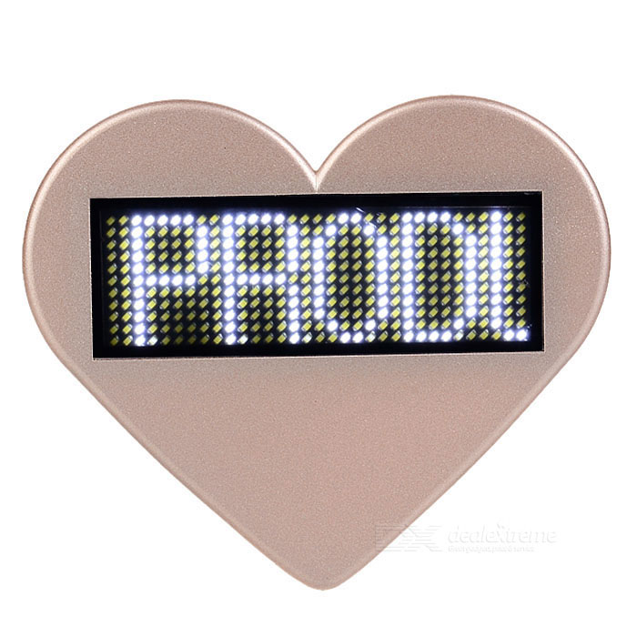 Heart-Shaped LED White Light USB Rechargeable Programmable Scrolling Message Badge / Name Tag