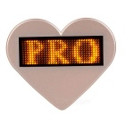 Heart-Shaped LED Yellow Light USB Rechargeable Programmable Scrolling Message Badge / Name Tag