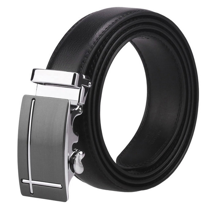 Fanshimite J15 Men's Leather Belt w/ Automatic Buckle - Black (120cm)