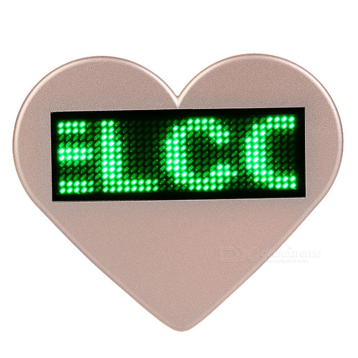 En forme de coeur LED verte programmable Défilement Message Badge Nom Tag