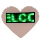 Heart-Shaped LED Green Light USB Rechargeable Programmable Scrolling Message Badge / Name Tag