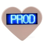 Heart-Shaped LED Blue Light USB Rechargeable Programmable Scrolling Message Badge / Name Tag