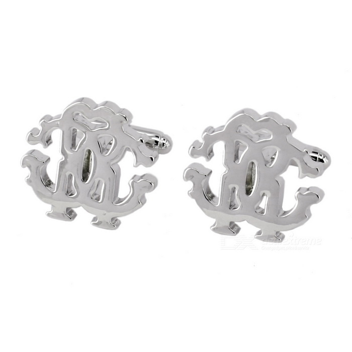 Jewelry Brass Material Letters Pattern Men's Cufflinks - Silver (Pair)