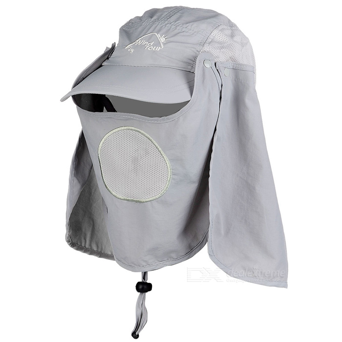 Wind Tour Outdoor 360 Degree Protection Quick-drying Breathable Anti-UV Sunhat - Light Grey