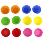 Silicone Muffin Cup Round Cake Mould - Light Yellow + Blue + Multicolor (12PCS)