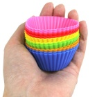 Silicone Muffin Cup Round Cake Mold - Blue + Multicolor (12PCS)