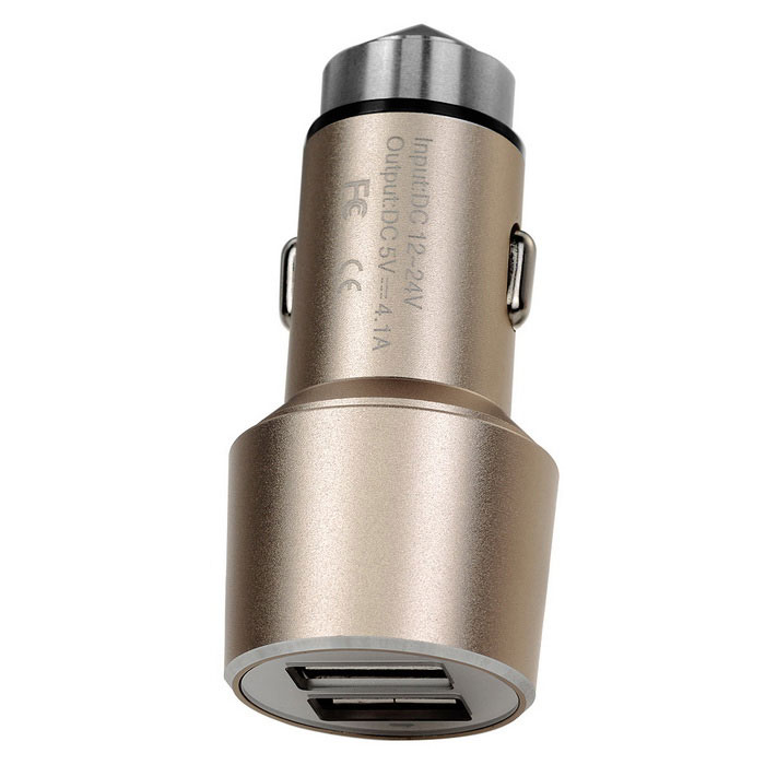 5V 4.1A (2 * 2.1A) 2-USB Safety Hammer & Car Charger - Champagne Gold