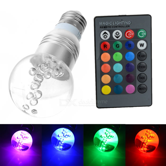 E27 3W RGB Multicolored IR Remote Control Crystal Ball Light Bulb (85~265V) 3w smd led 16 color light bulb with ir remote control 85 265v