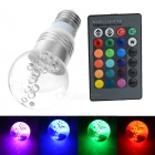 E27 3W RGB Multicolored IR Remote Control Crystal Ball Light Bulb (85~265V)