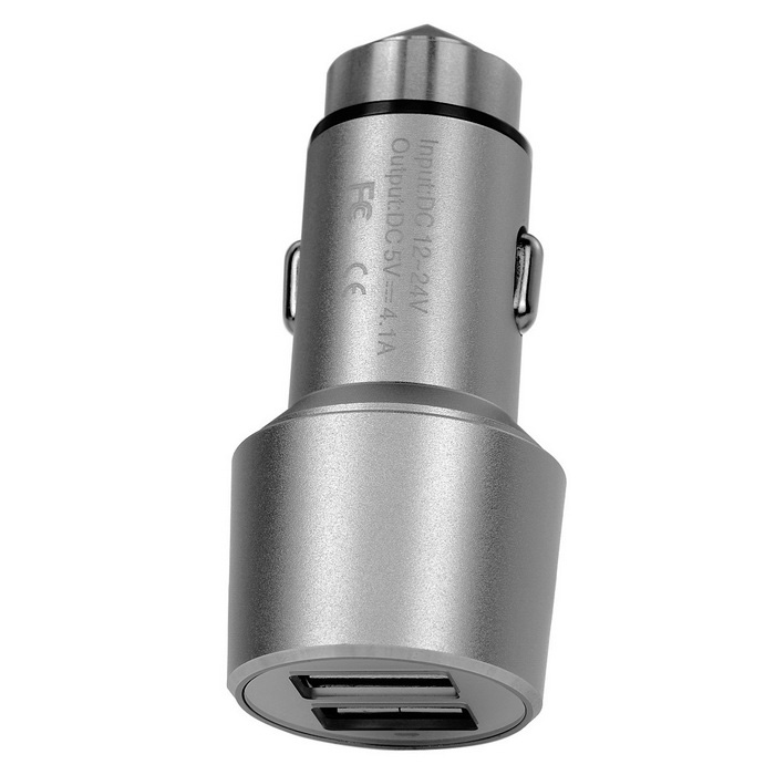 5V 4.1A (2 * 2.1A) 2-USB Safety Hammer & Car Charger - Silver