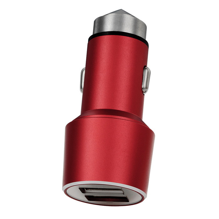 5V 4.1A (2 * 2.1A) 2-USB Safety Hammer & Car Charger - Red
